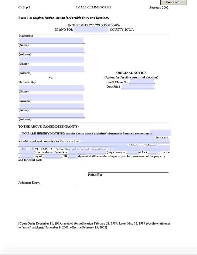 Landlord Tenant Eviction Notice Form