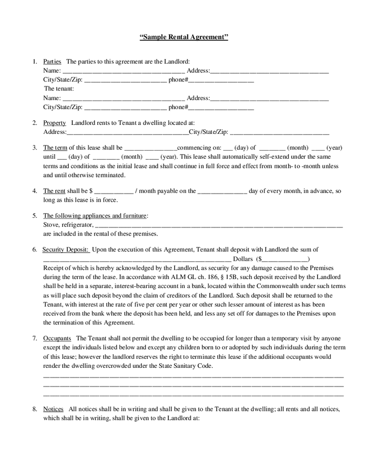 Landlord Tenant Rental Agreement Form