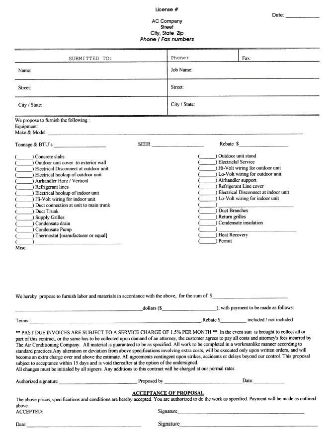 Landscaping Bid Proposal Forms