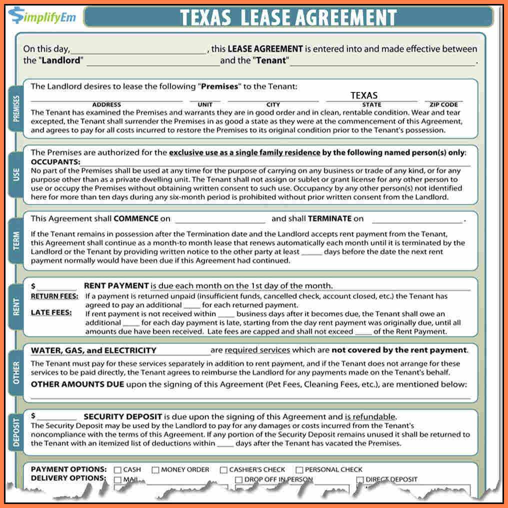 Texas Rental Agreement Form Pdf 91513 8 Florida Residential Lease Agreement Pdf
