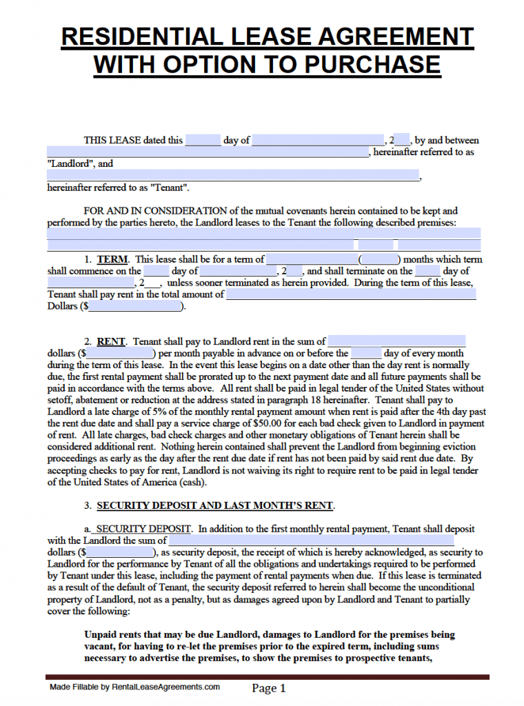Lease Purchase Agreement Form Florida
