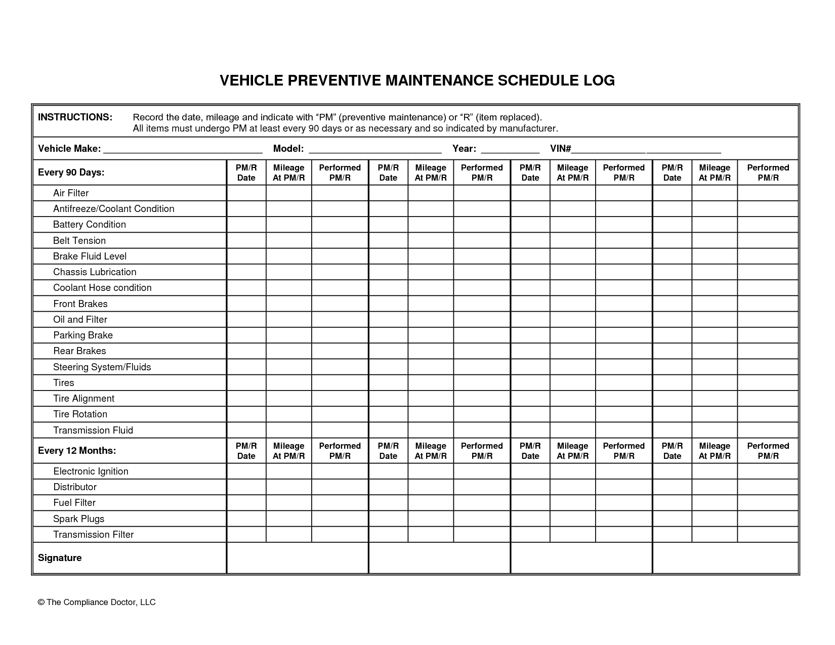 Light Vehicle Preventive Maintenance Checklist