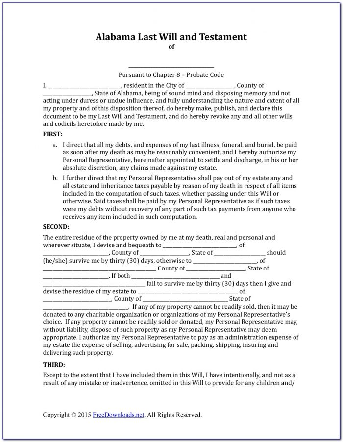 Maine Last Will And Testament Form Free
