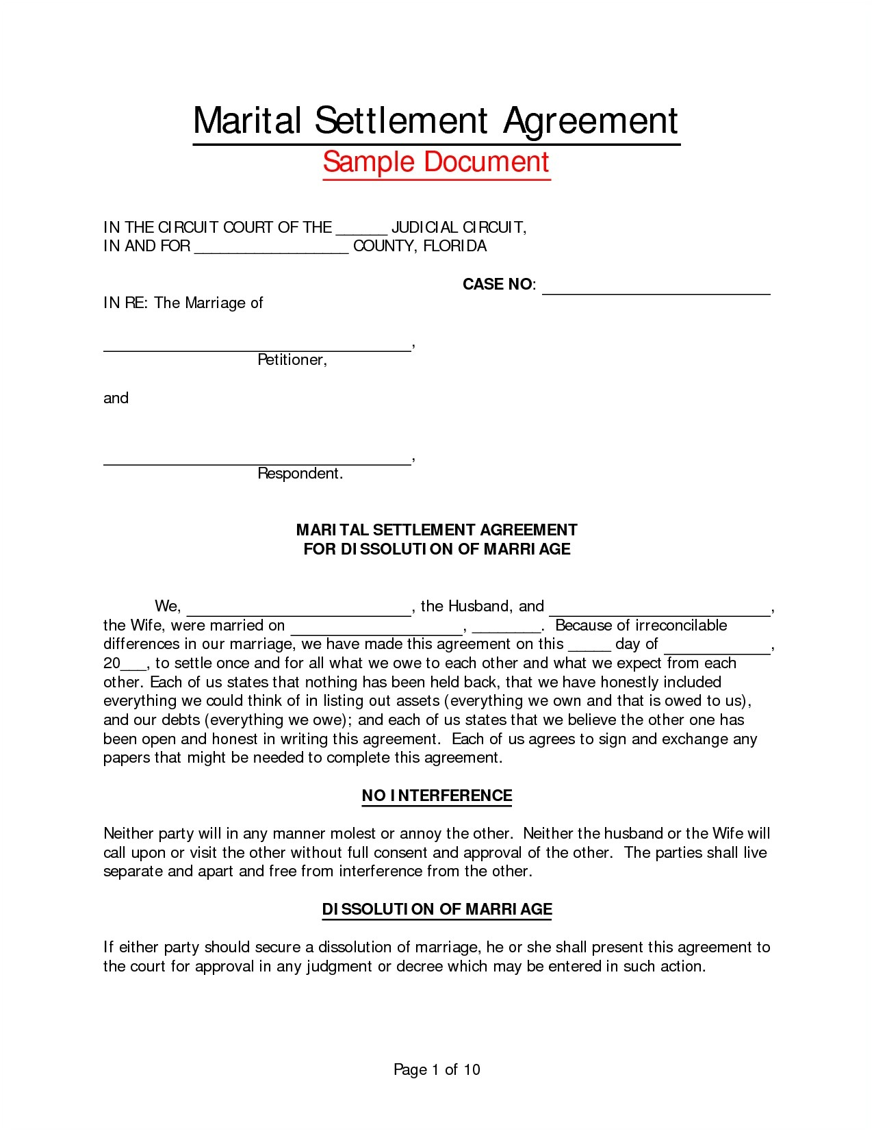 Marriage Separation Agreement Template Images Professional Report Template Word Sample Marital Settlement Agreement Florida