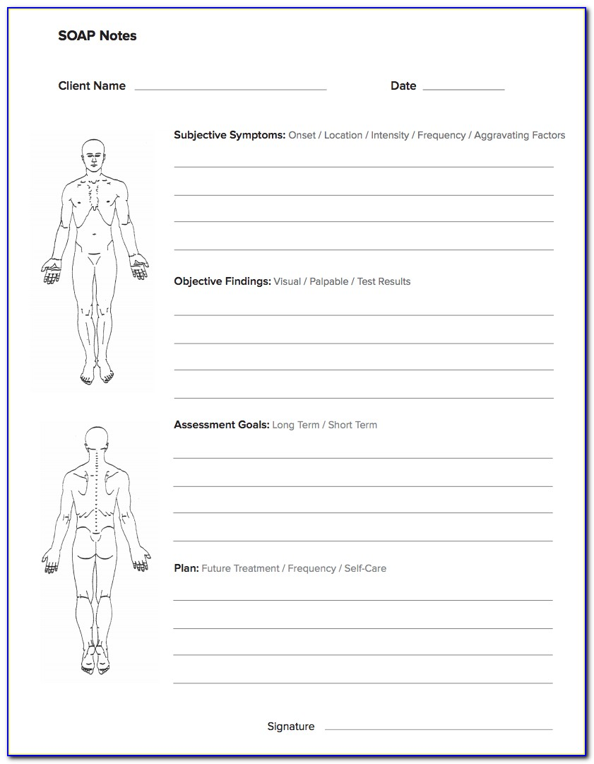 Massage Therapy Soap Notes Form