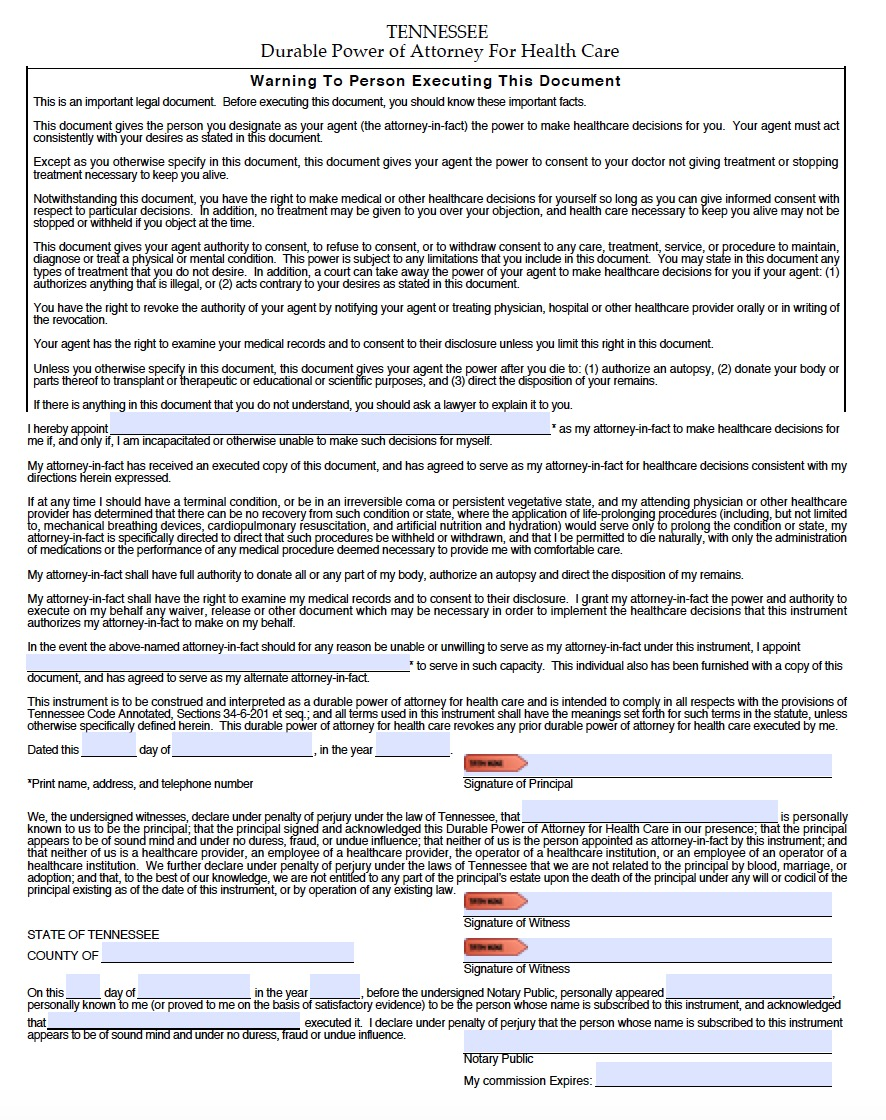 Medical Durable Power Of Attorney Form Tennessee