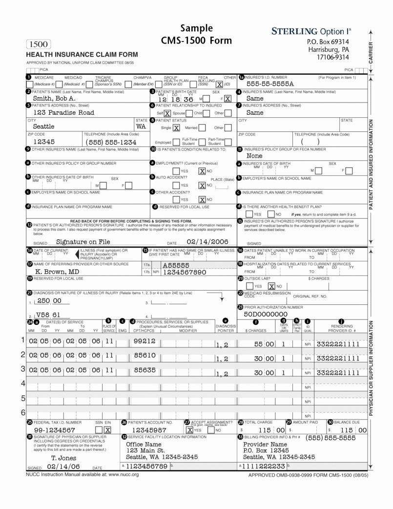 Cms 1500 Example Form Fresh Sample Hcfa 1500 Claim Form Instructions Fresh Claim Form Cms Blank