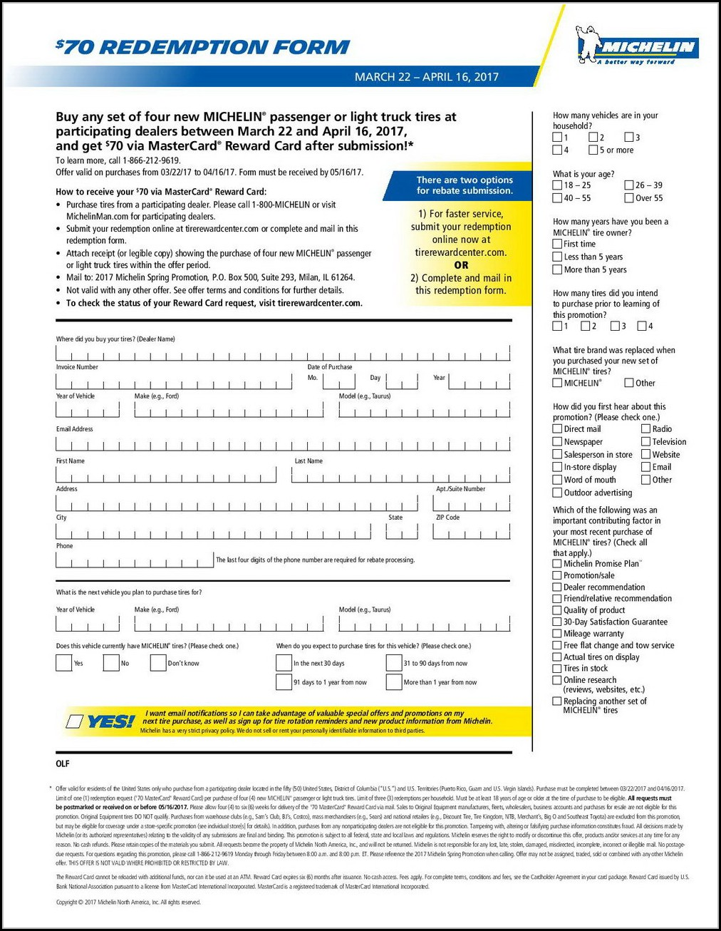 Michelin Tire Employee Rebate Form