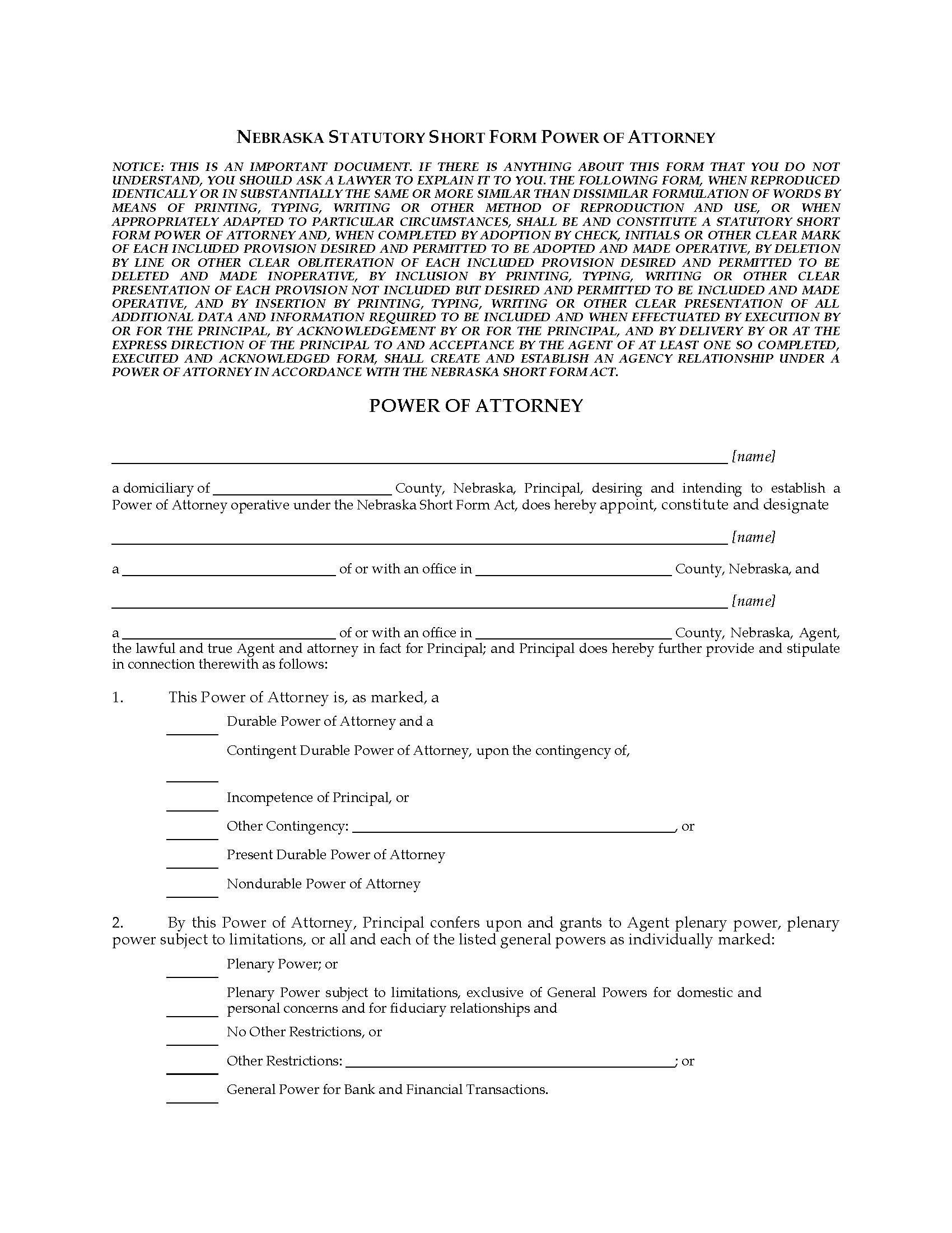 Nebraska Statutory Short Form Power Of Attorney