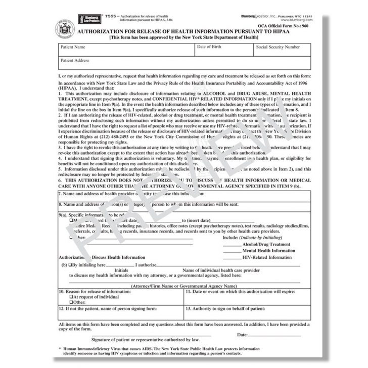 New York State Hipaa Compliant Authorization Form
