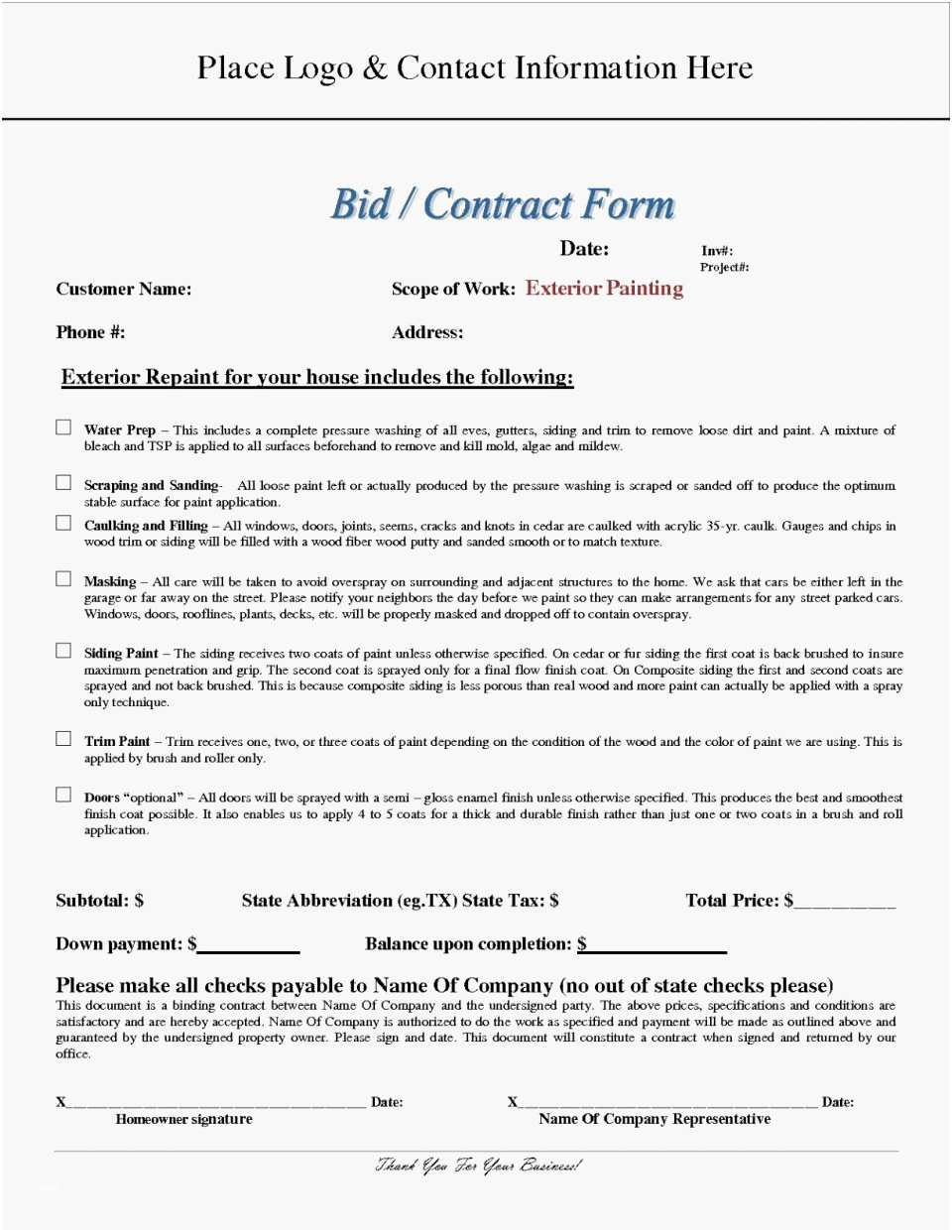 Nj Home Improvement Contract Template Awesome Home Improvement Contract Form