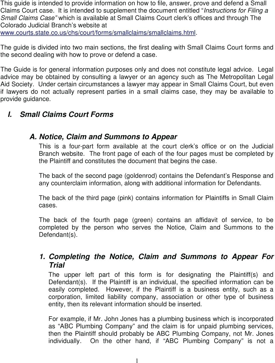 Nj Small Claim Court Forms