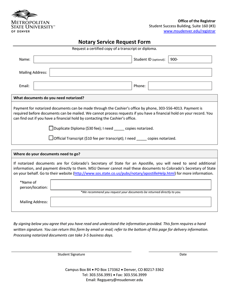 Notary Request Form