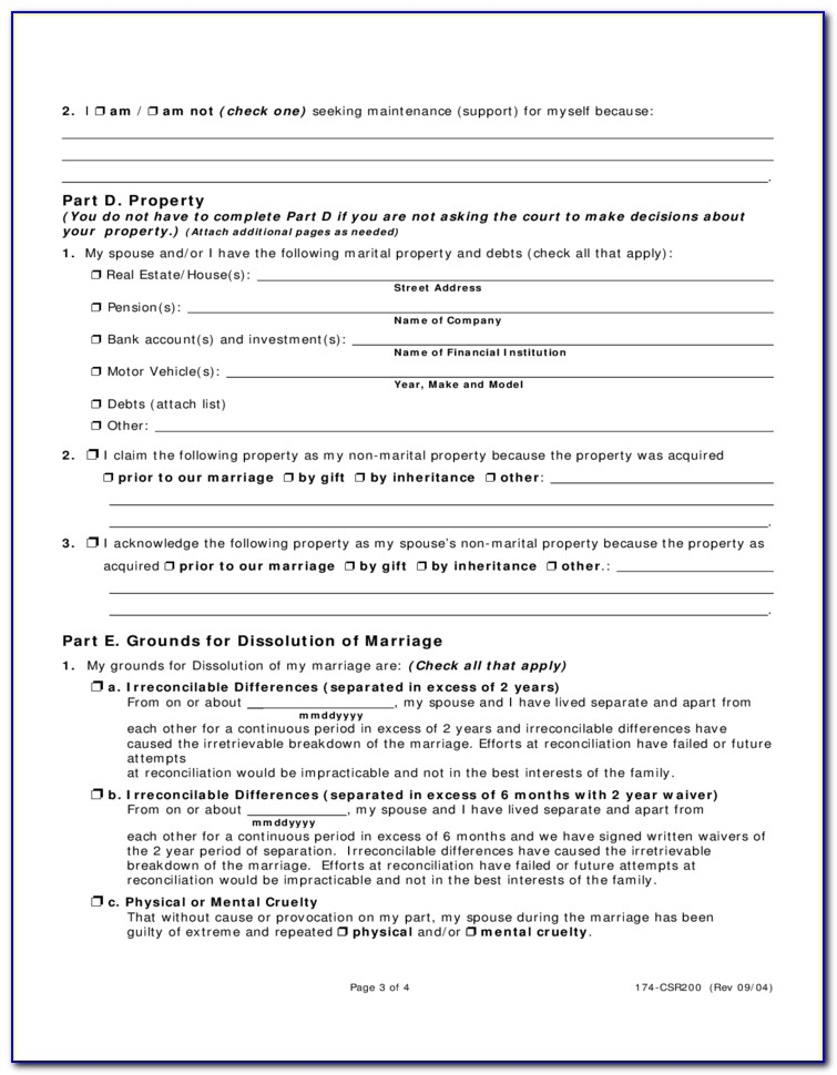 Ohio Dissolution Of Marriage Forms Hamilton County