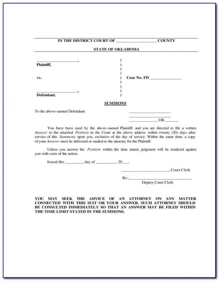 Oklahoma Divorce Forms Free Download