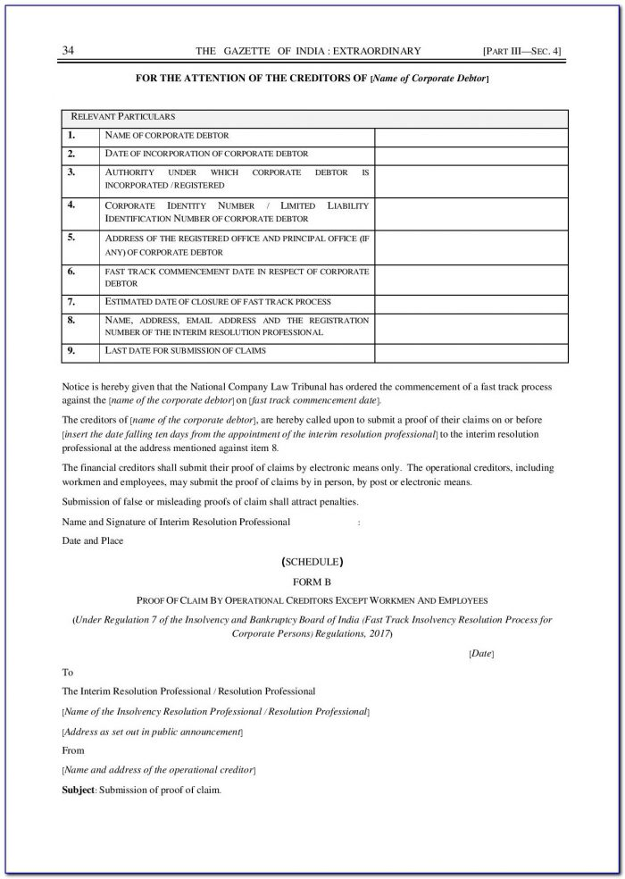 Operational Creditor Claim Form