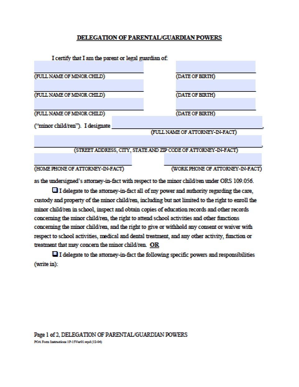 Oregon Vehicle Power Of Attorney Form