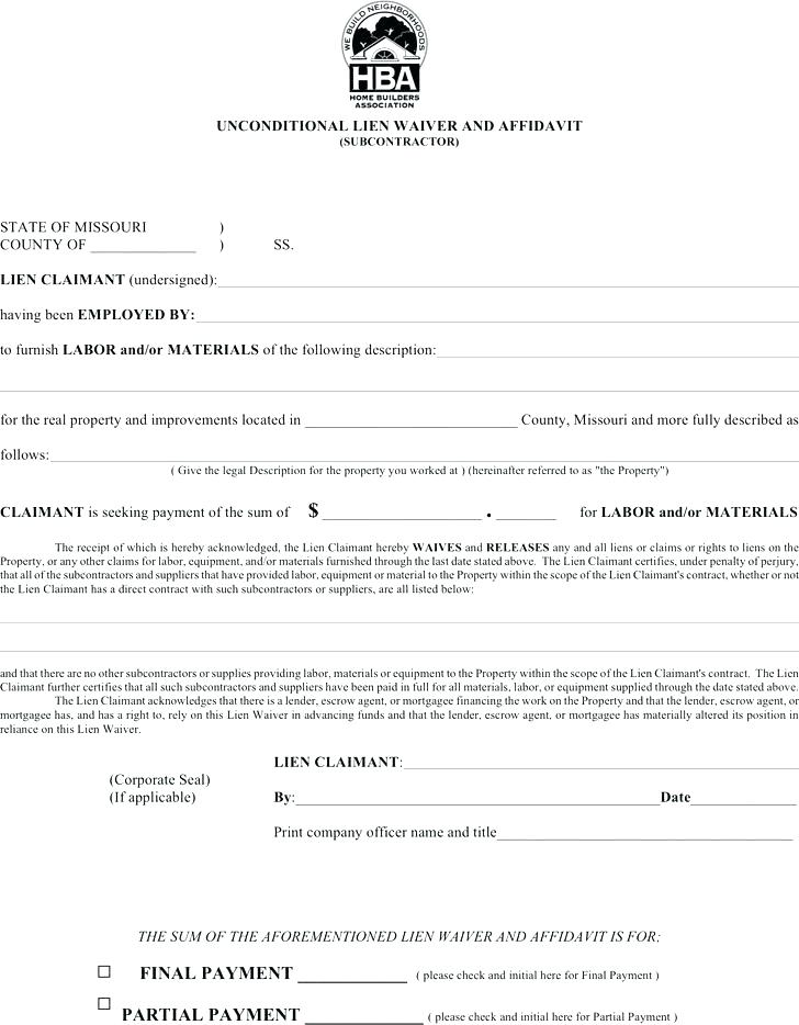 Partial Release Lien Waiver Form