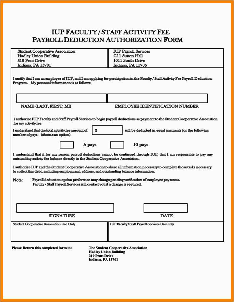 Payroll Authorization Form Example Payroll Deduction Form Template 2018