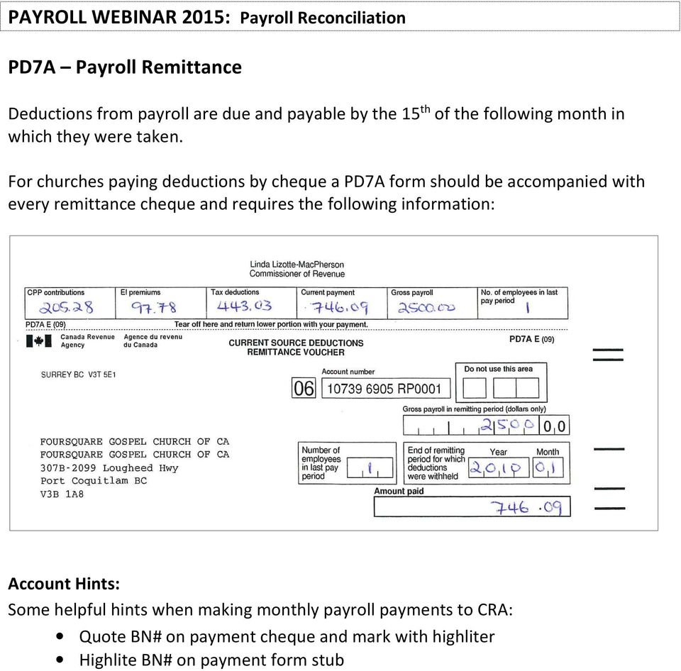Payroll Webinar Pdf Intended For Cra Business Number