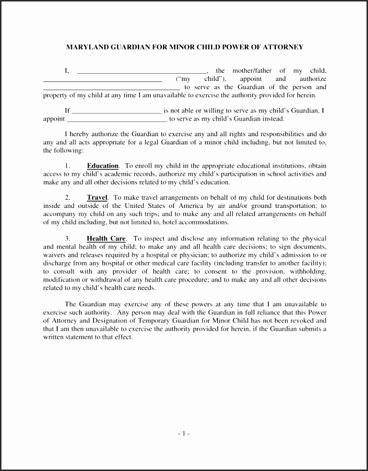 Temporary Guardianship Indiana Yiwgg Unique Free Maryland Guardian Of Minor Child Power Of Attorney Form