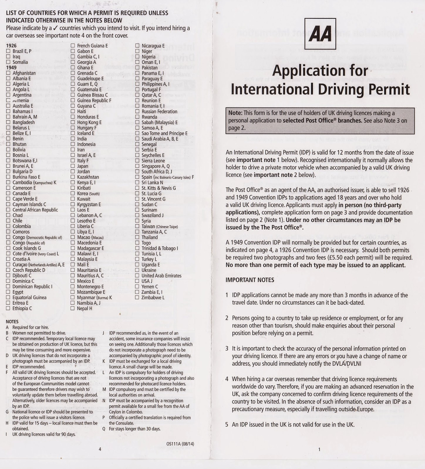 Post Office Application Form For International Driving Permit