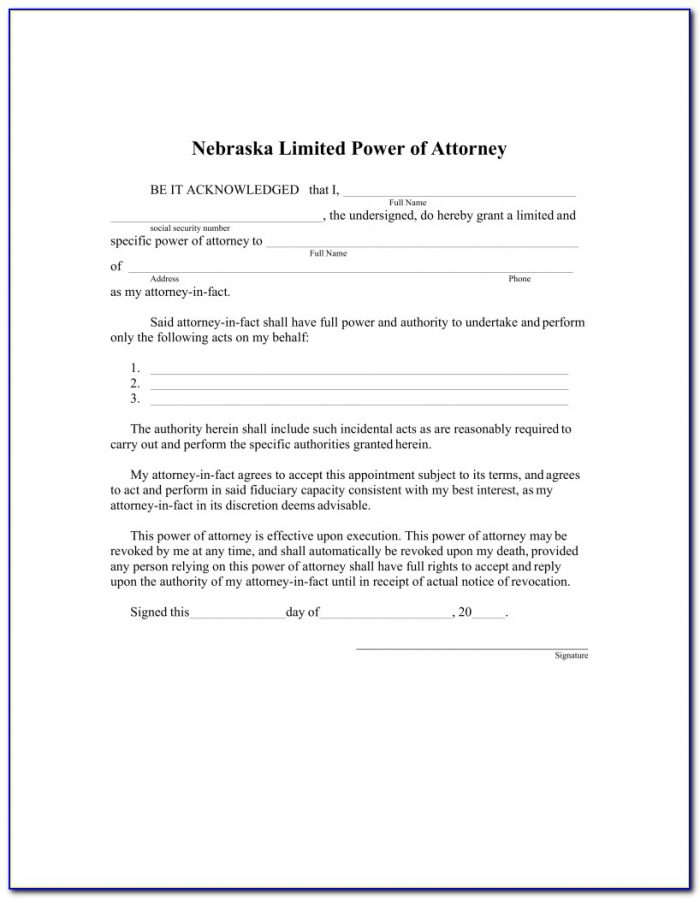 Power Of Attorney Form 33 Nebraska