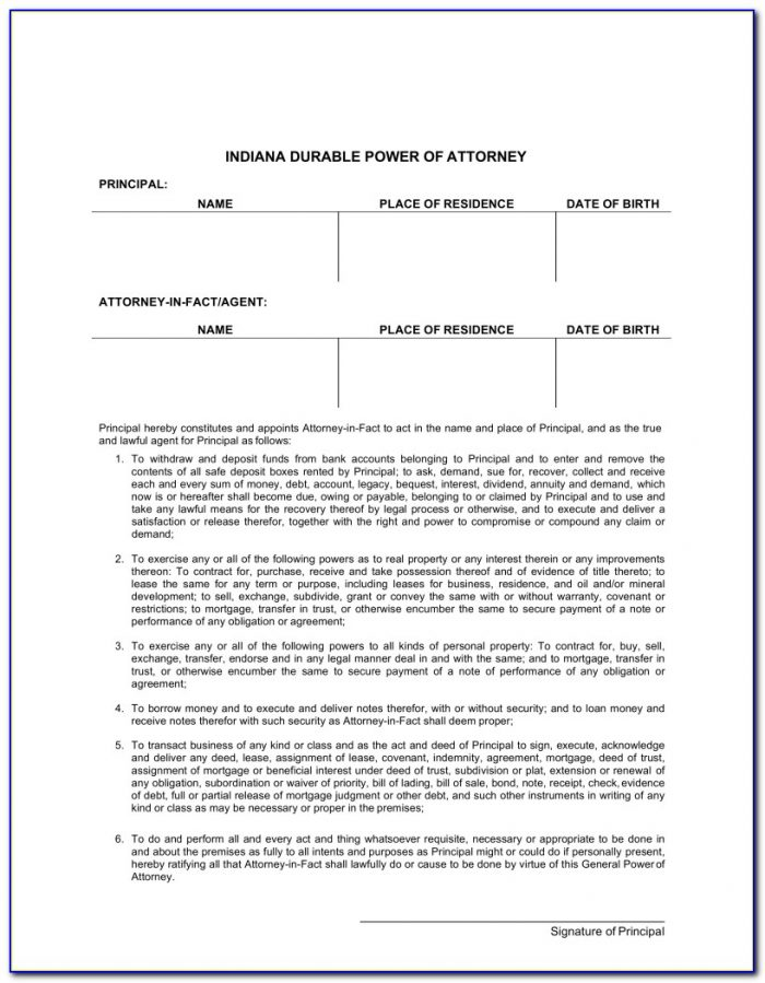 Power Of Attorney Form Indiana Durable