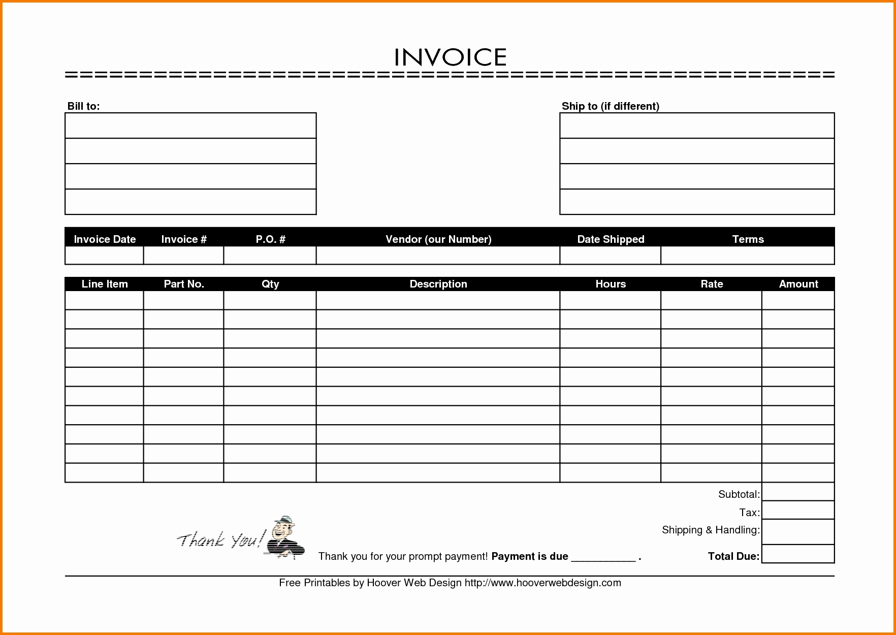 Printable Online Invoice Forms Free Printable Blank Invoice Forms Invoice Template Ideas