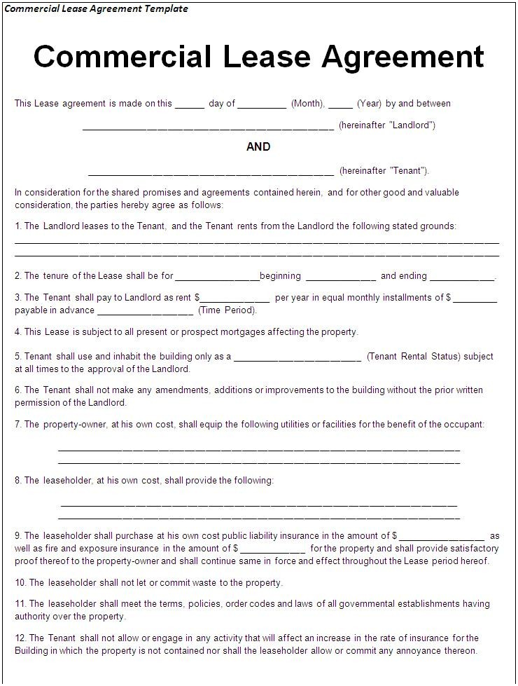 Commercial Lease Agreement Florida Commercial Lease Agreement Sample Free Printable Documents