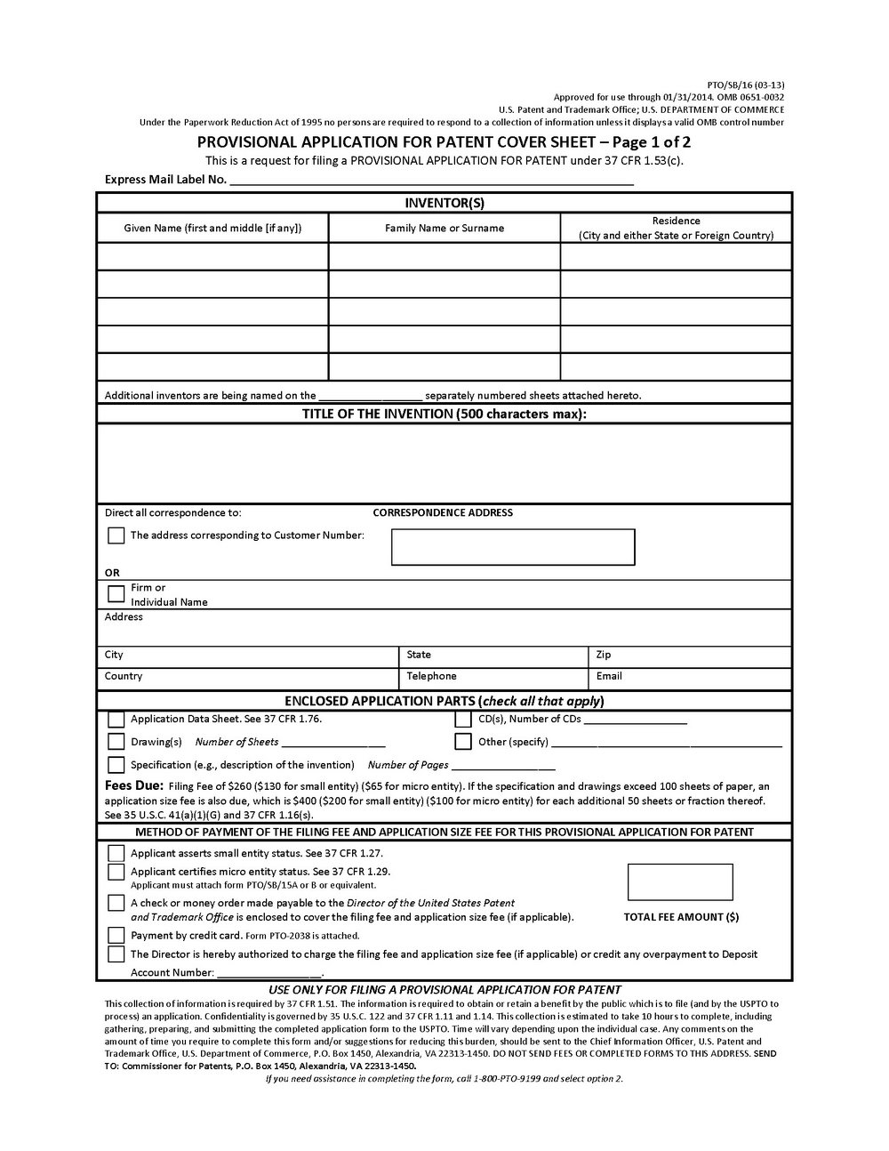 provisional-patent-forms-download Provisional Patent Application Form Uspto on example pdf, requirements page 2, cover sheet part two, example written, examples well written, sports equipment, summary invention,