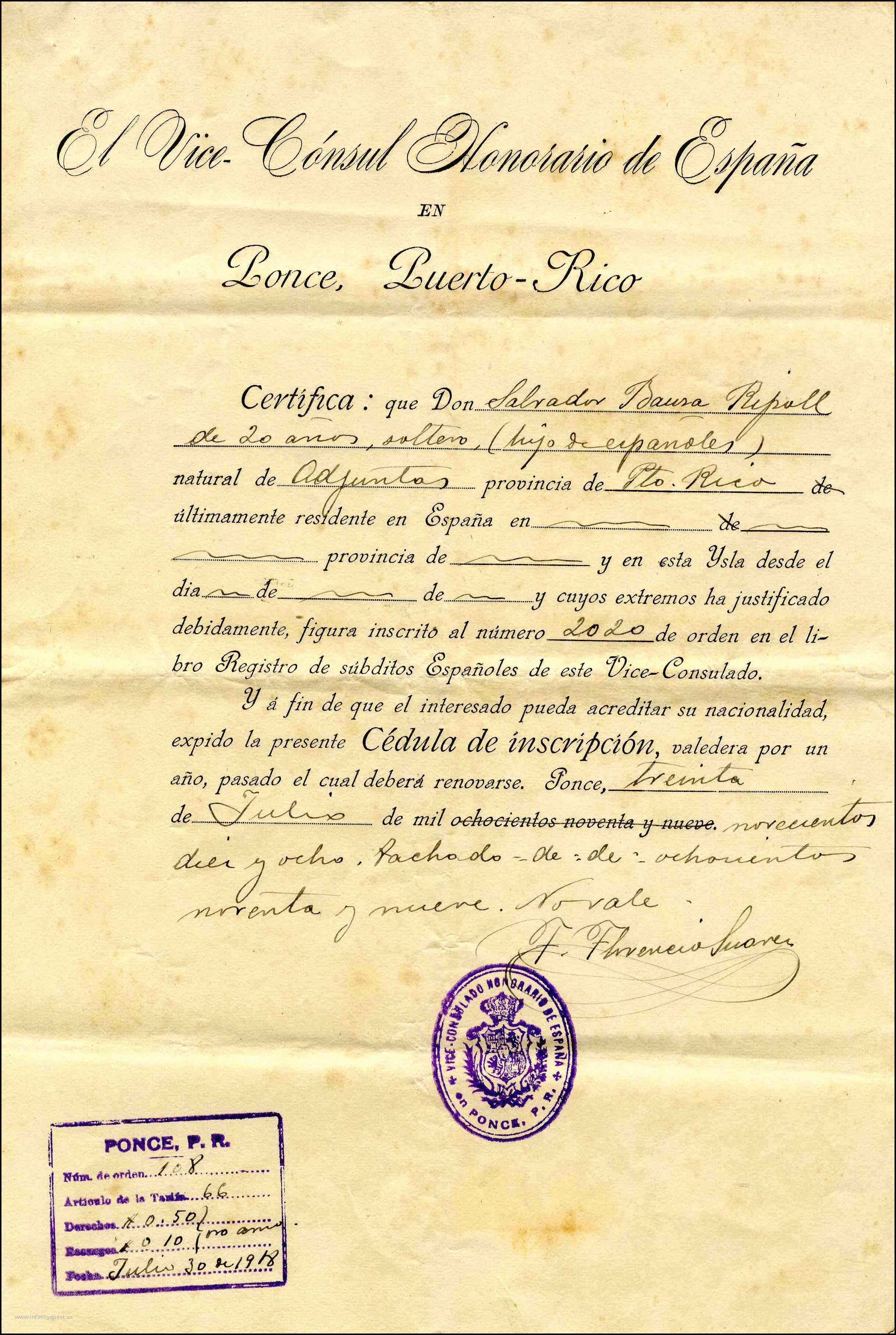 Puerto Rican Birth Certificate Unsubdivided Declarations Of Persons Retaining Spanish Citizenship