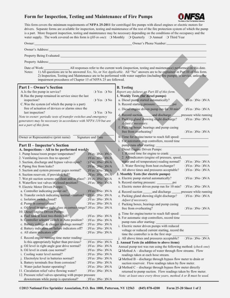 Quarterly Fire Sprinkler Inspection Form
