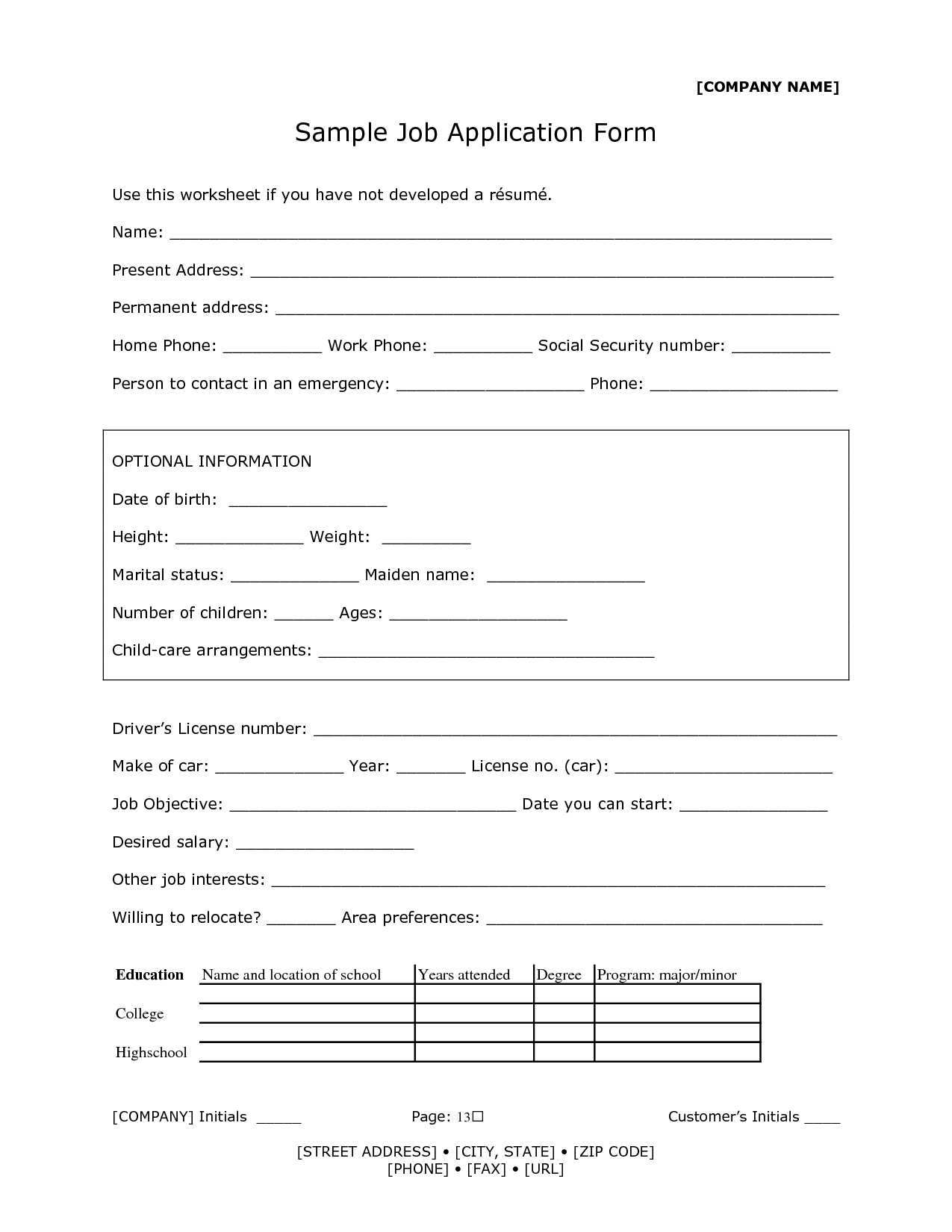 reception-job-application-form Jamaican Application Form Filled on