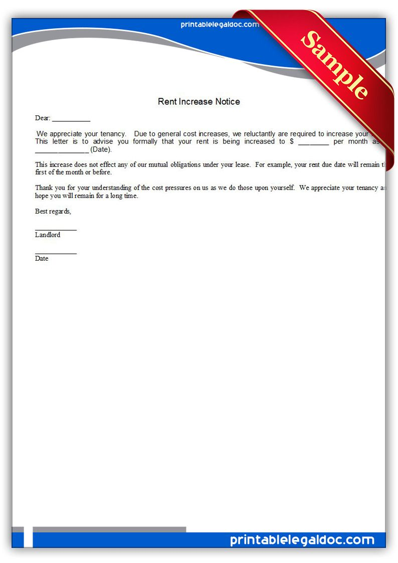 Rent Increase Forms Free