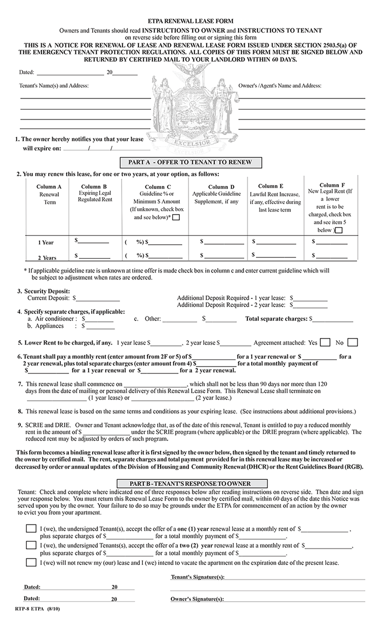 Rent Stabilized Lease Renewal Form