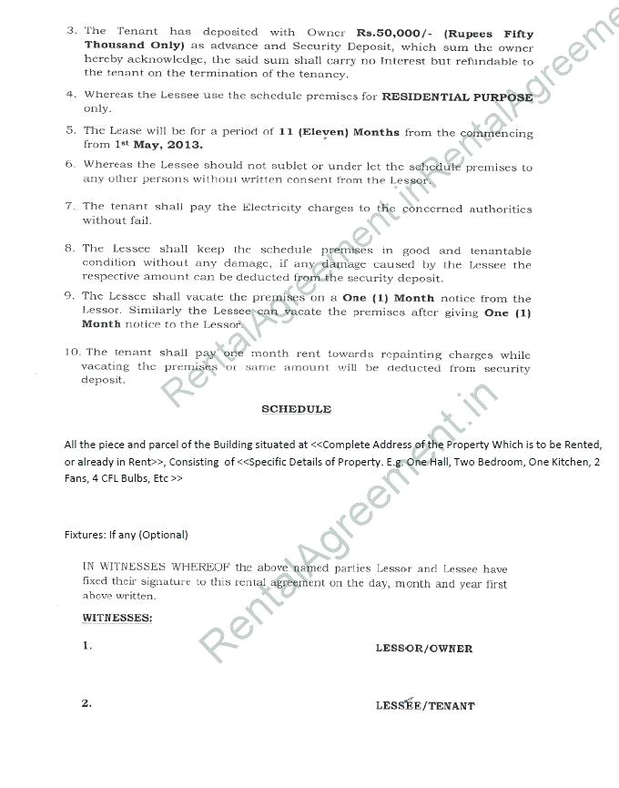 Rental Agreement Format In Kannada
