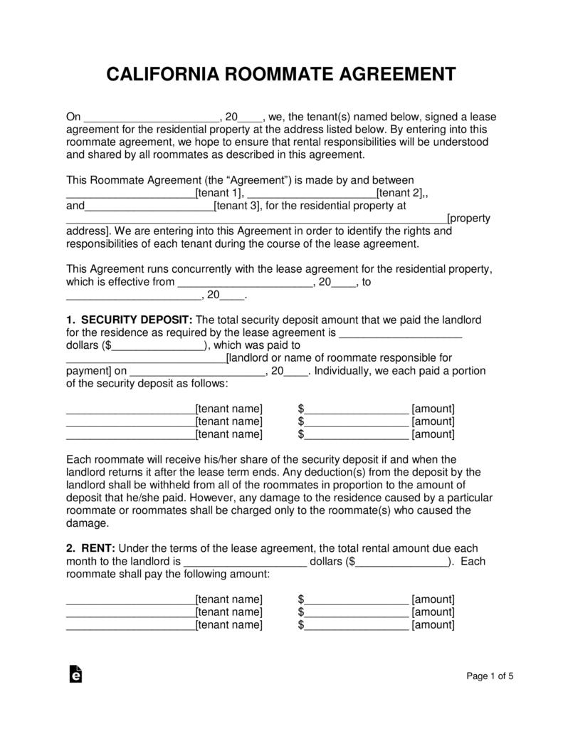 Rental Agreement Forms California Free Pdf