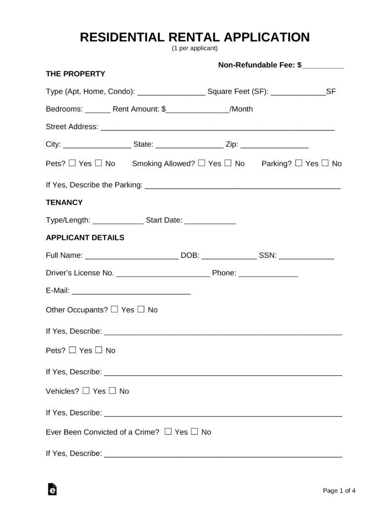 Rental Application Forms Pdf