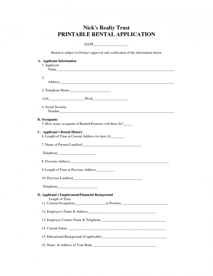 Rental Lease Agreement Form Free
