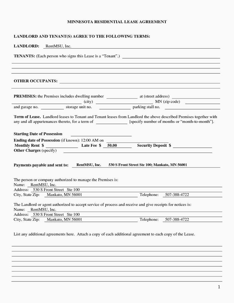 Minnesota Lease Agreement Beautiful Rental Application Form Mn ? Jcollierblog