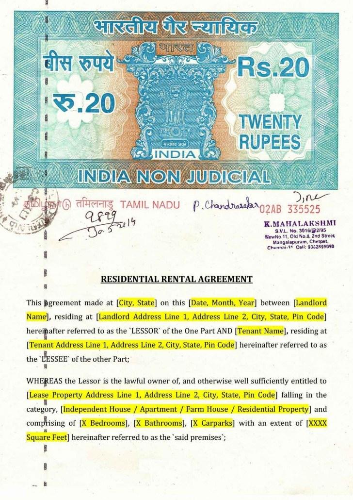 Rental Lease Agreement Format Bangalore
