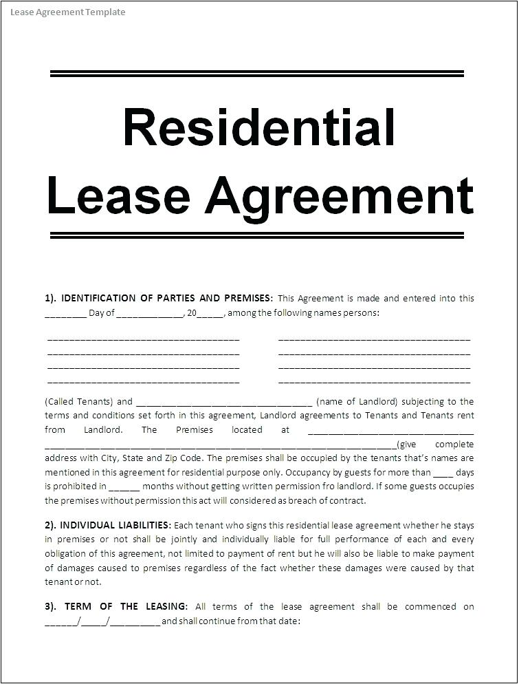 Rental Lease Agreement Format India
