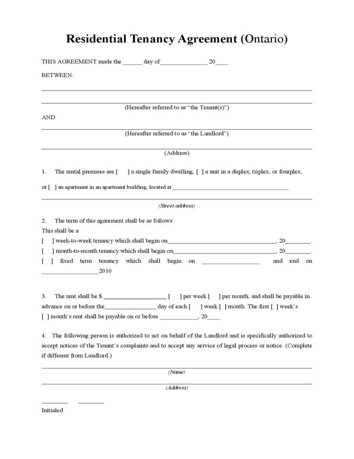 Rental Lease Form Ontario