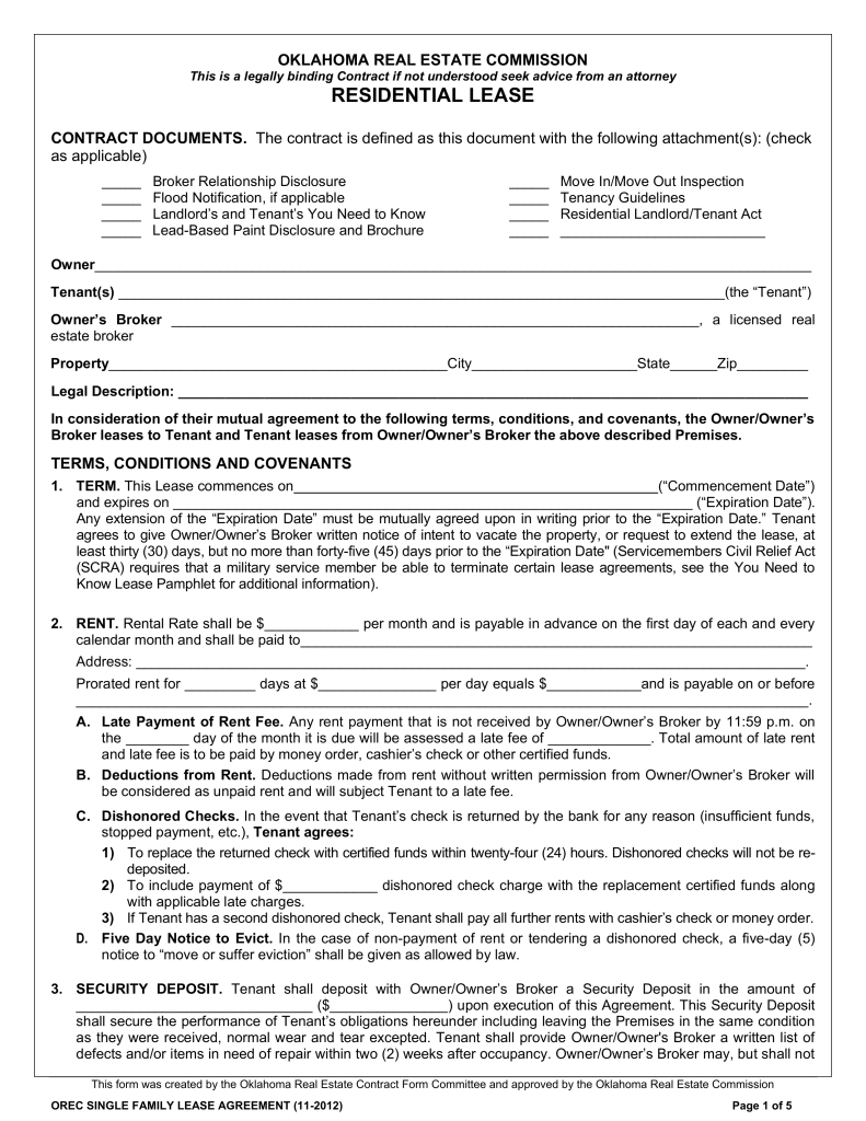 Residential Lease Agreement Form Florida Realtors