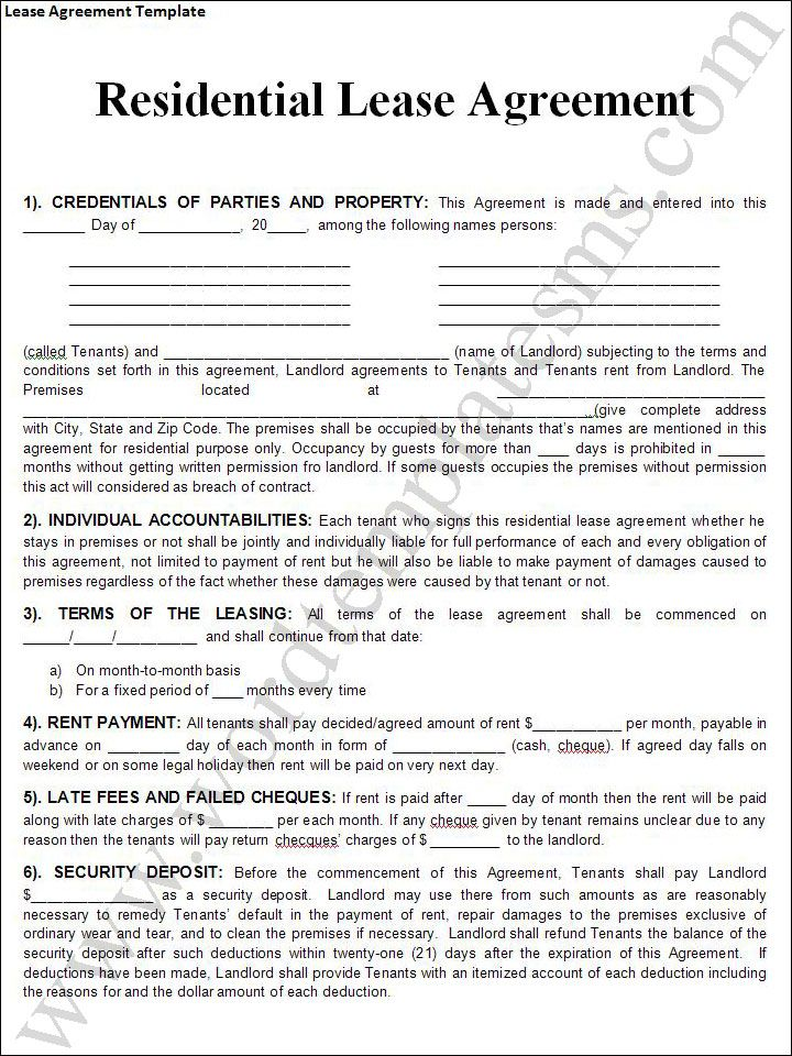 Residential Lease Agreement Form Texas