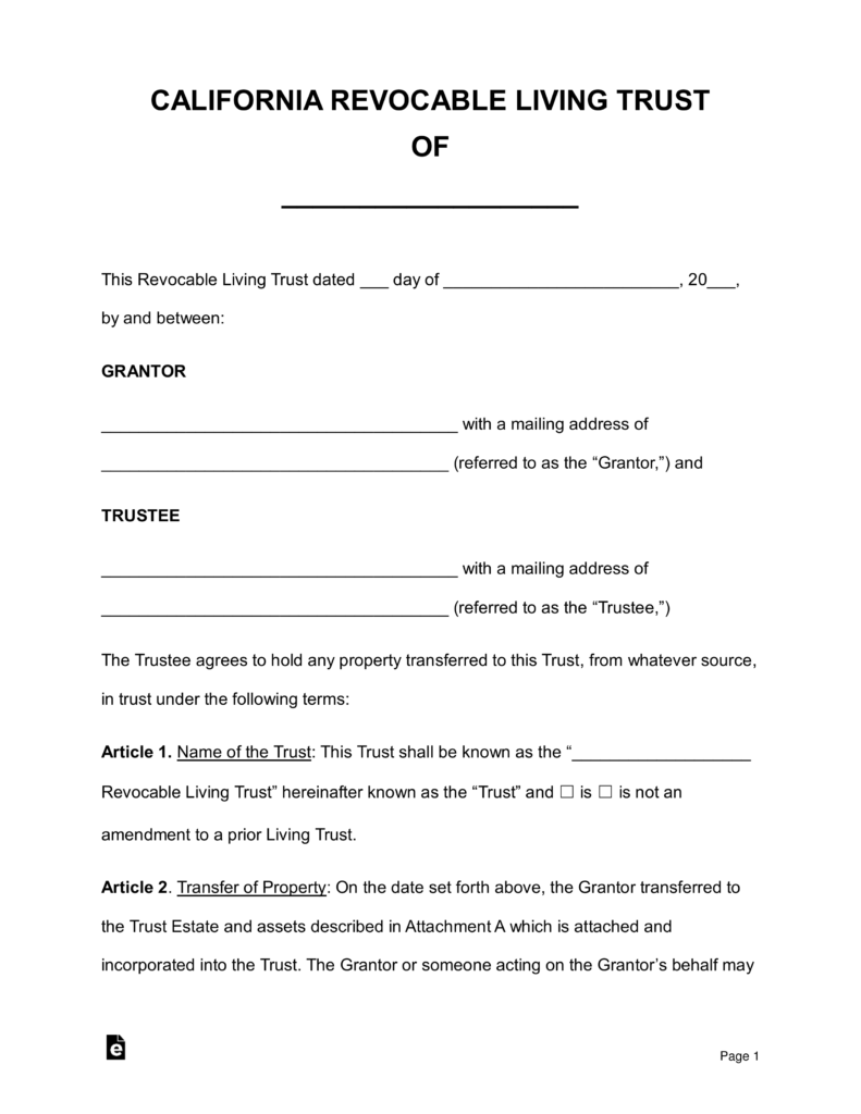 Revocable Living Trust Form