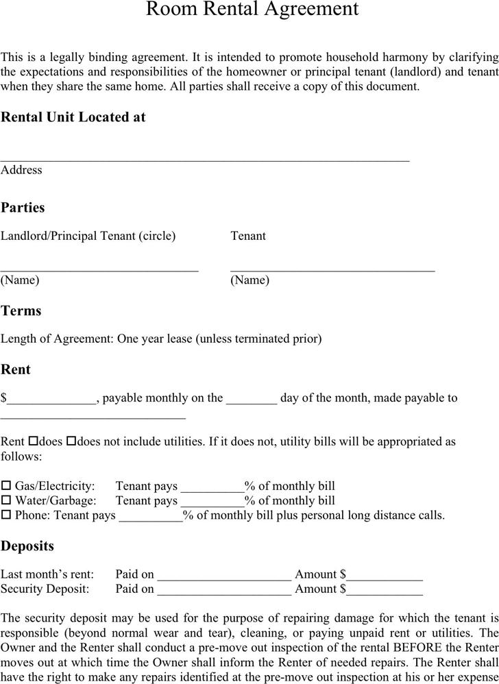 Room Rental Agreement Form California