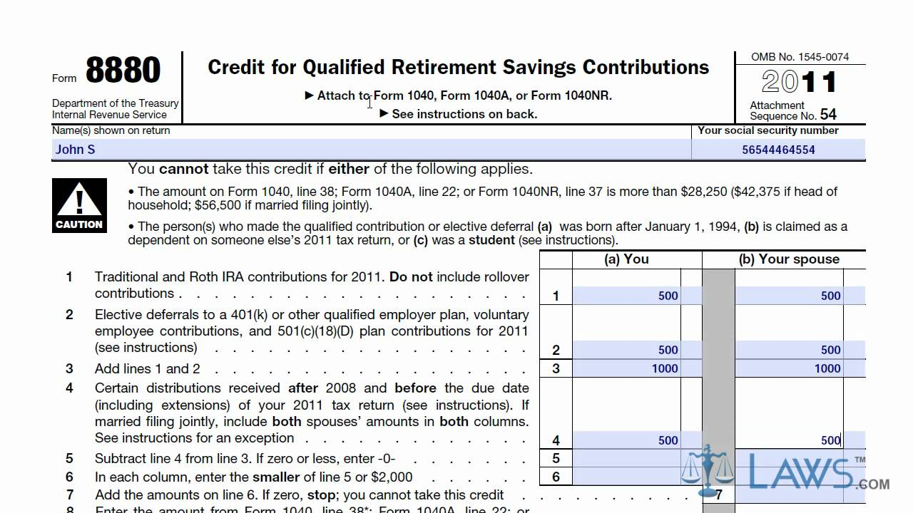 roth-ira-form-8880 Tax Form Example on