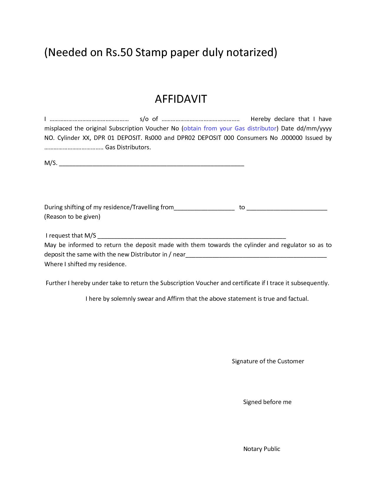 Sample Affidavit Form Pdf